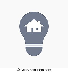 Isolated light bulb icon with a house