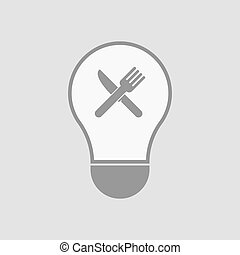 Isolated light bulb with a knife and a fork