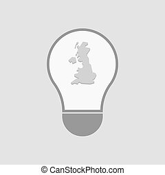 Isolated light bulb with  a map of the UK