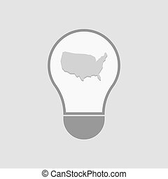 Isolated light bulb with  a map of the USA