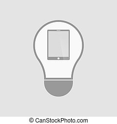 Isolated light bulb with a tablet computer