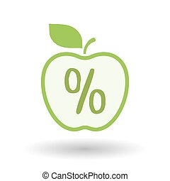 Isolated  line art apple icon with a discount sign