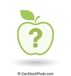 Isolated  line art apple icon with a question sign
