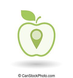 Isolated  line art apple icon with a map mark