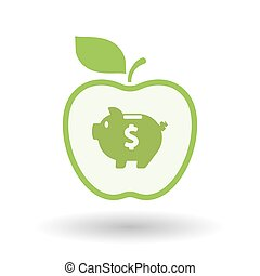 Isolated  line art apple icon with a piggy bank