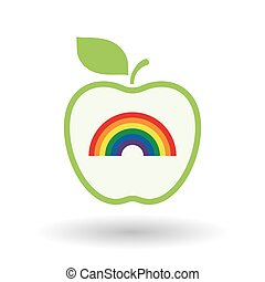 Isolated  line art  apple icon with a rainbow