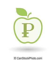 Isolated  line art apple icon with a ruble sign