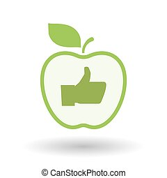 Isolated  line art apple icon with a thumb up hand