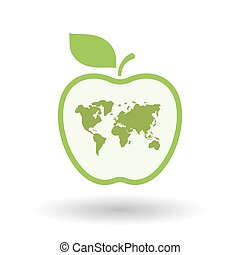Isolated  line art apple icon with a world map