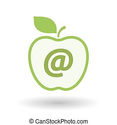 Isolated line art apple icon with an at sign