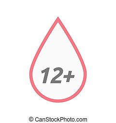 Isolated line art blood drop icon with the text 12+