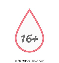 Isolated line art blood drop icon with the text 16+