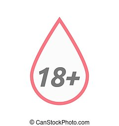 Isolated line art blood drop icon with the text 18+