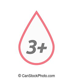 Isolated line art blood drop icon with the text 3+