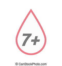 Isolated line art blood drop icon with the text 7+