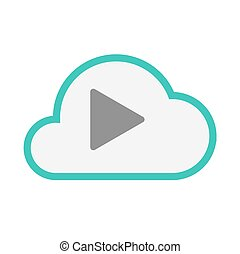 Isolated line art   cloud icon with a play sign