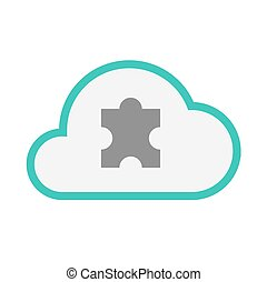 Isolated line art   cloud icon with a puzzle piece