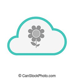Isolated line art   cloud icon with a flower