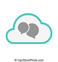 Isolated line art   cloud icon with  comic balloons
