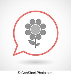 Isolated line art comic balloon with a flower