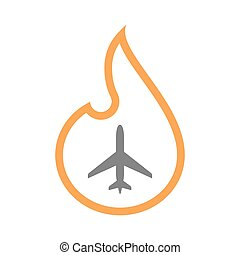 Isolated line art flame icon with a plane