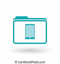 Isolated  line art  folder icon with a smart phone