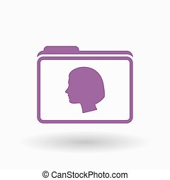 Isolated  line art  folder icon with a female head