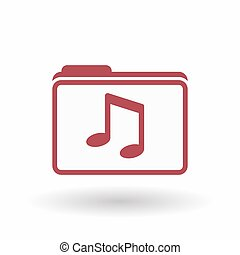Isolated line art folder icon with a note music