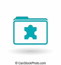 Isolated line art folder icon with a puzzle piece