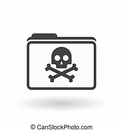 Isolated line art folder icon with a skull