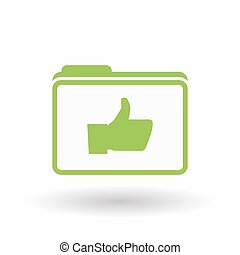 Isolated  line art  folder icon with a thumb up hand