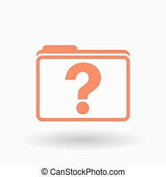 Isolated  line art  folder icon with a question sign