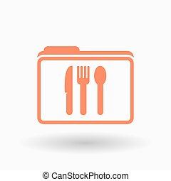 Isolated line art folder icon with cutlery