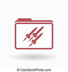Isolated line art folder icon with missiles