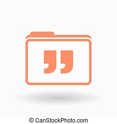 Isolated line art folder icon with quotes