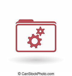 Isolated line art folder icon with two gears