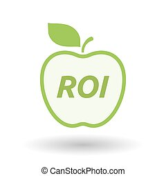 Isolated line art fresh apple fruit icon with    the return of investment acronym ROI