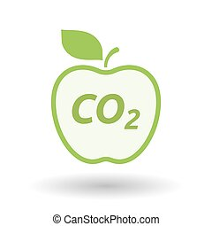 Isolated line art fresh apple fruit icon with    the text CO2
