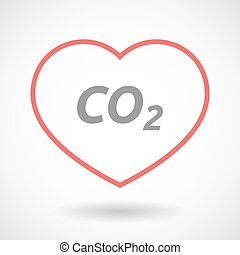 Isolated  line art heart icon with    the text CO2