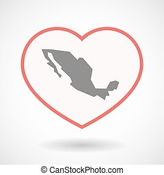 Isolated line art heart with  a map of Mexico