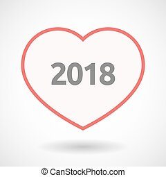 Isolated line art heart with  the number 2018