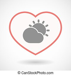 Isolated line art heart with  the Sun shining behind a cloud