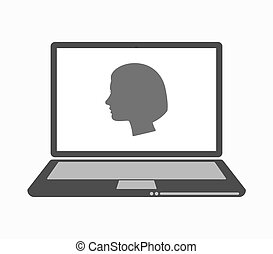 Isolated line art laptop with a female head