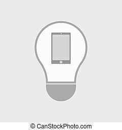 Isolated line art light bulb icon with a smart phone