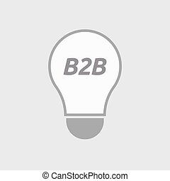 Isolated line art light bulb icon with    the text B2B