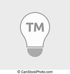 Isolated line art light bulb icon with the text TM -...
