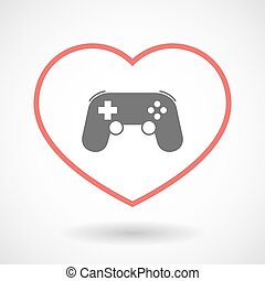 Isolated line art red heart with a game pad
