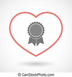 Isolated line art red heart with a ribbon award