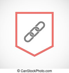 Isolated line art ribbon icon with a chain