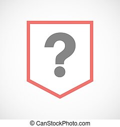 Isolated line art ribbon icon with a question sign